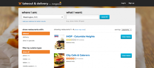 Living Social Takeout & Delivery