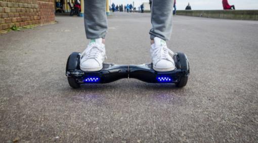 going around via a hoverboard